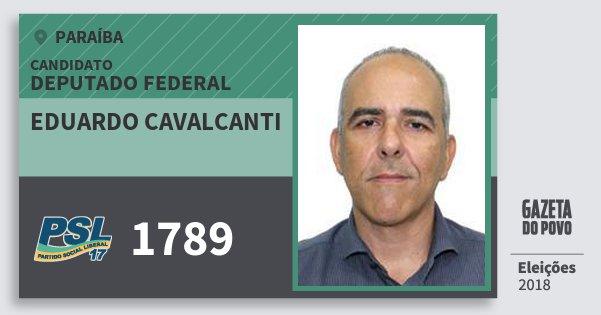 Santinho Eduardo Cavalcanti 1789 (PSL) Deputado Federal | Paraíba | Eleições 2018