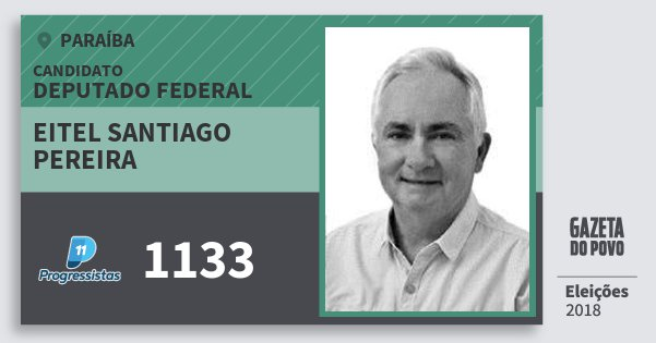 Santinho Eitel Santiago Pereira 1133 (PP) Deputado Federal | Paraíba | Eleições 2018