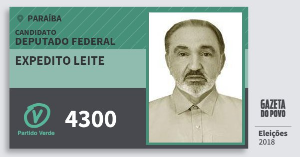 Santinho Expedito Leite 4300 (PV) Deputado Federal | Paraíba | Eleições 2018