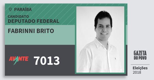 Santinho Fabrinni Brito 7013 (AVANTE) Deputado Federal | Paraíba | Eleições 2018