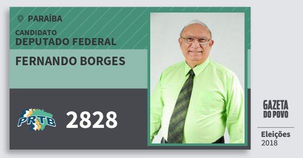 Santinho Fernando Borges 2828 (PRTB) Deputado Federal | Paraíba | Eleições 2018