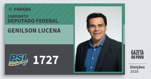 Santinho Genilson Lucena 1727 (PSL) Deputado Federal | Paraíba | Eleições 2018