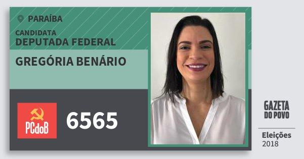 Santinho Gregória Benário 6565 (PC do B) Deputada Federal | Paraíba | Eleições 2018