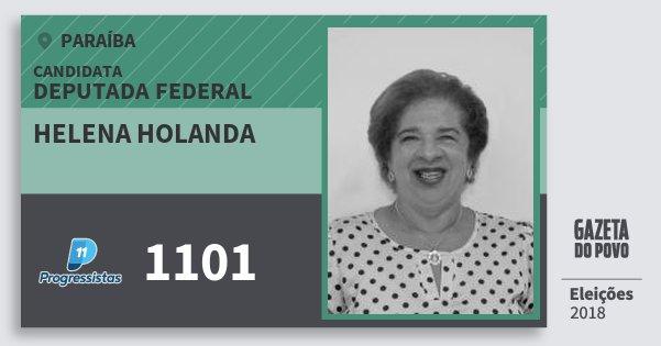 Santinho Helena Holanda 1101 (PP) Deputada Federal | Paraíba | Eleições 2018