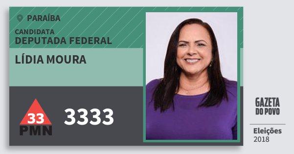 Santinho Lídia Moura 3333 (PMN) Deputada Federal | Paraíba | Eleições 2018