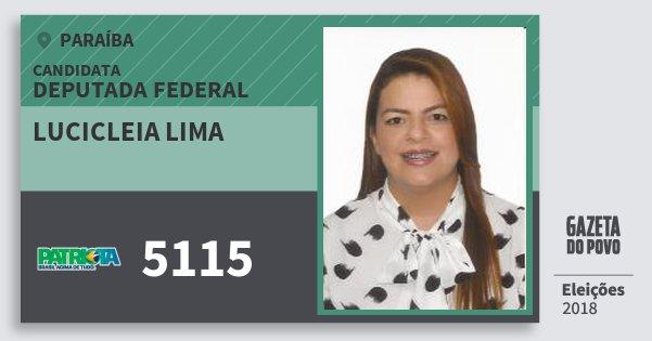 Santinho Lucicleia Lima 5115 (PATRI) Deputada Federal | Paraíba | Eleições 2018