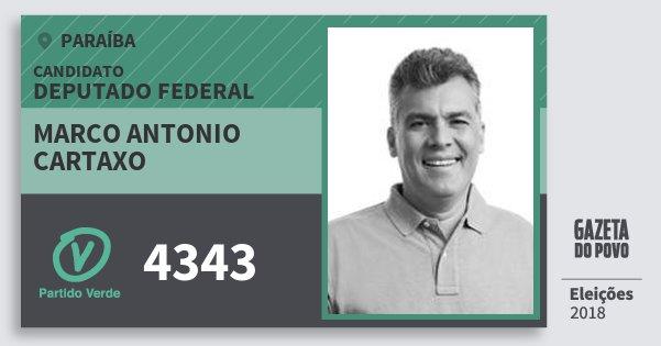 Santinho Marco Antonio Cartaxo 4343 (PV) Deputado Federal | Paraíba | Eleições 2018