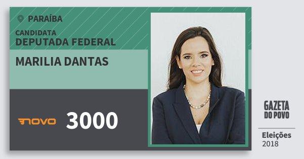 Santinho Marilia Dantas 3000 (NOVO) Deputada Federal | Paraíba | Eleições 2018