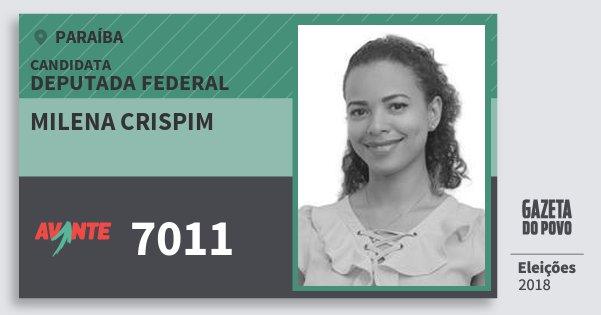Santinho Milena Crispim 7011 (AVANTE) Deputada Federal | Paraíba | Eleições 2018