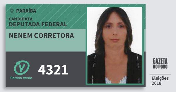 Santinho Nenem Corretora 4321 (PV) Deputada Federal | Paraíba | Eleições 2018