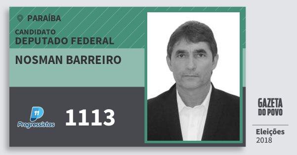 Santinho Nosman Barreiro 1113 (PP) Deputado Federal | Paraíba | Eleições 2018