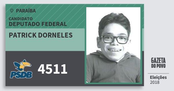 Santinho Patrick Dorneles 4511 (PSDB) Deputado Federal | Paraíba | Eleições 2018