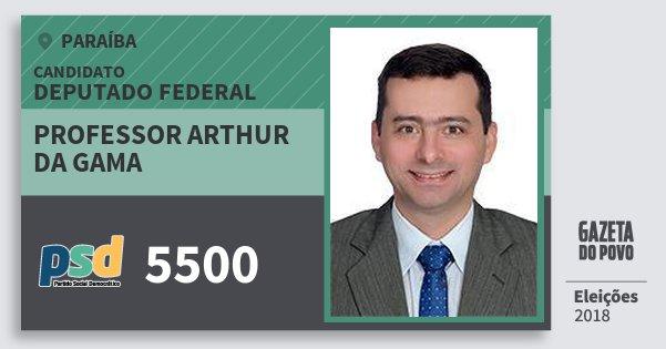 Santinho Professor Arthur da Gama 5500 (PSD) Deputado Federal | Paraíba | Eleições 2018