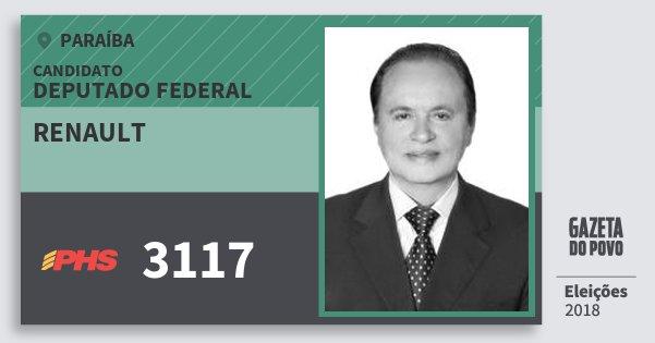 Santinho Renault 3117 (PHS) Deputado Federal | Paraíba | Eleições 2018