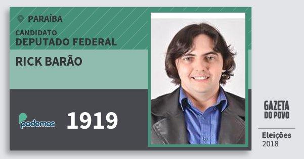 Santinho Rick Barão 1919 (PODE) Deputado Federal | Paraíba | Eleições 2018