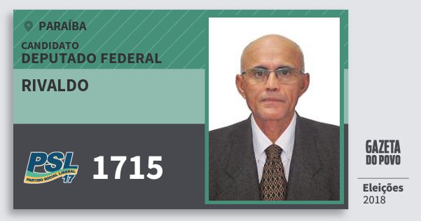 Santinho Rivaldo 1715 (PSL) Deputado Federal | Paraíba | Eleições 2018