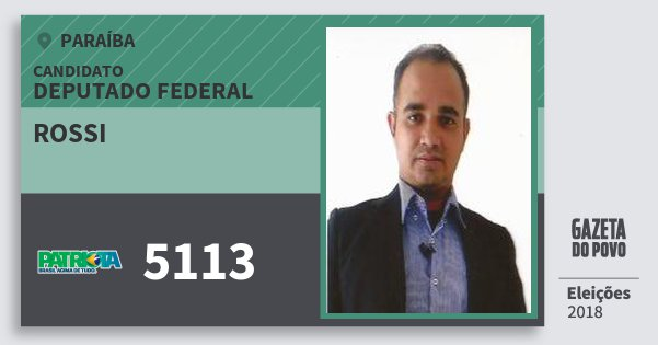 Santinho Rossi 5113 (PATRI) Deputado Federal | Paraíba | Eleições 2018