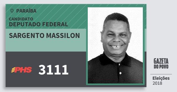 Santinho Sargento Massilon 3111 (PHS) Deputado Federal | Paraíba | Eleições 2018