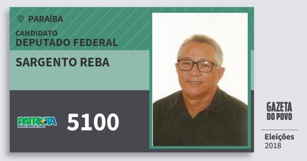 Santinho Sargento Reba 5100 (PATRI) Deputado Federal | Paraíba | Eleições 2018