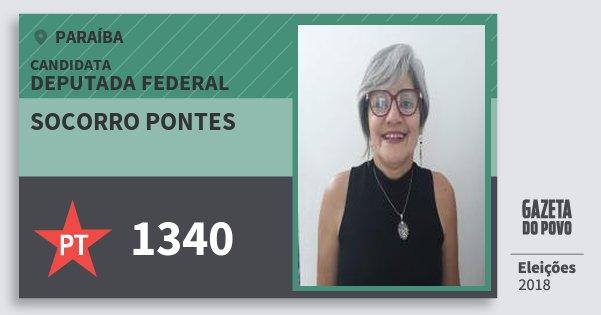 Santinho Socorro Pontes 1340 (PT) Deputada Federal | Paraíba | Eleições 2018