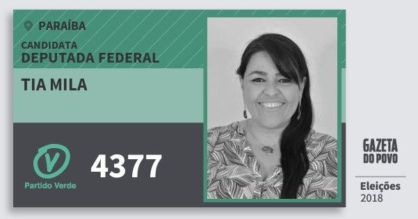 Santinho Tia Mila 4377 (PV) Deputada Federal | Paraíba | Eleições 2018