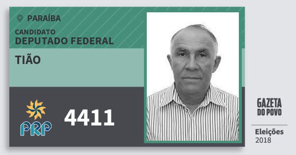 Santinho Tião 4411 (PRP) Deputado Federal | Paraíba | Eleições 2018