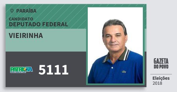 Santinho Vieirinha 5111 (PATRI) Deputado Federal | Paraíba | Eleições 2018