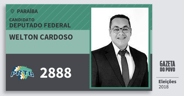 Santinho Welton Cardoso 2888 (PRTB) Deputado Federal | Paraíba | Eleições 2018