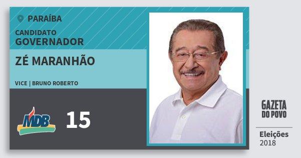 Santinho Zé Maranhão 15 (MDB) Governador | Paraíba | Eleições 2018