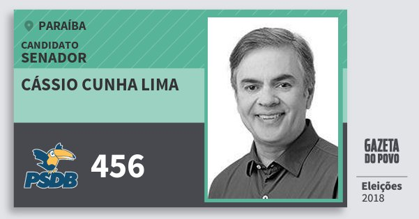 Santinho Cássio Cunha Lima 456 (PSDB) Senador | Paraíba | Eleições 2018