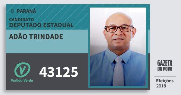 Santinho Adão Trindade 43125 (PV) Deputado Estadual | Paraná | Eleições 2018