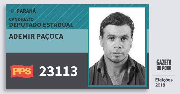 Santinho Ademir Paçoca 23113 (PPS) Deputado Estadual | Paraná | Eleições 2018