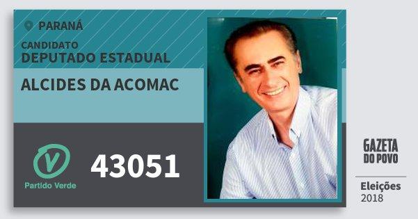 Santinho Alcides da Acomac 43051 (PV) Deputado Estadual | Paraná | Eleições 2018