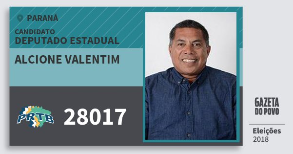 Santinho Alcione Valentim 28017 (PRTB) Deputado Estadual | Paraná | Eleições 2018