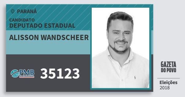 Santinho Alisson Wandscheer 35123 (PMB) Deputado Estadual | Paraná | Eleições 2018