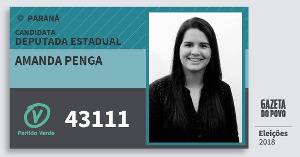 Santinho Amanda Penga 43111 (PV) Deputada Estadual | Paraná | Eleições 2018