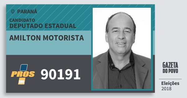 Santinho Amilton Motorista 90191 (PROS) Deputado Estadual | Paraná | Eleições 2018