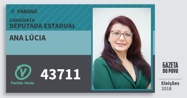 Santinho Ana Lúcia 43711 (PV) Deputada Estadual   Paraná   Eleições 2018