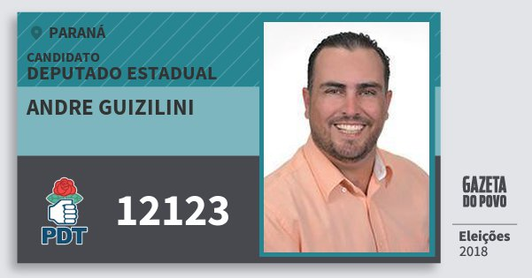 Santinho Andre Guizilini 12123 (PDT) Deputado Estadual   Paraná   Eleições 2018