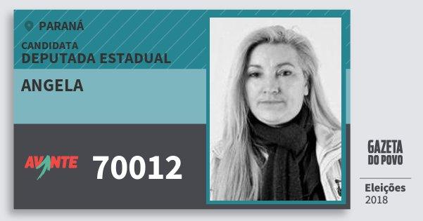 Santinho Angela 70012 (AVANTE) Deputada Estadual | Paraná | Eleições 2018