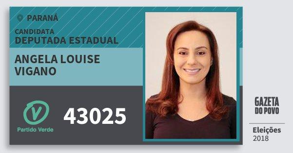 Santinho Angela Louise Vigano 43025 (PV) Deputada Estadual | Paraná | Eleições 2018