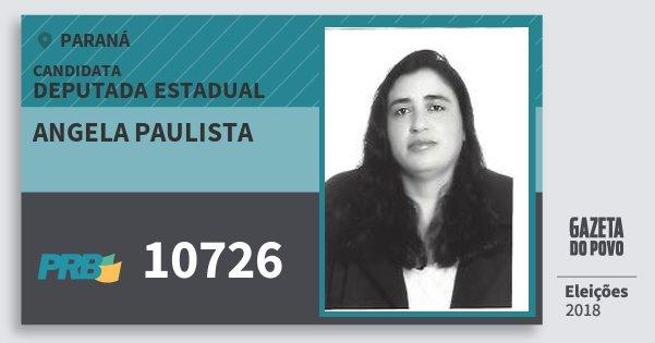 Santinho Angela Paulista 10726 (PRB) Deputada Estadual   Paraná   Eleições 2018