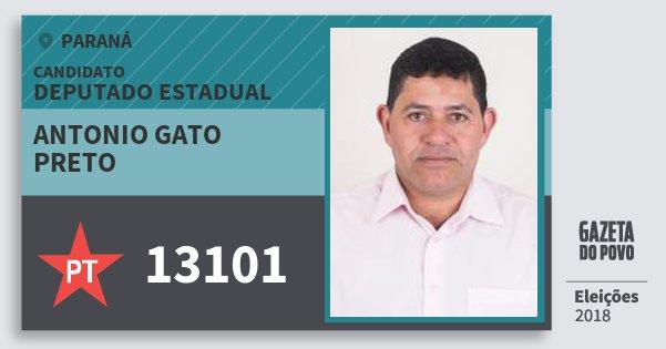 Santinho Antonio Gato Preto 13101 (PT) Deputado Estadual | Paraná | Eleições 2018