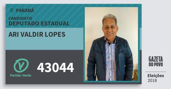 Santinho Ari Valdir Lopes 43044 (PV) Deputado Estadual | Paraná | Eleições 2018