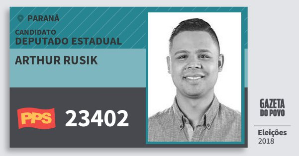 Santinho Arthur Rusik 23402 (PPS) Deputado Estadual | Paraná | Eleições 2018
