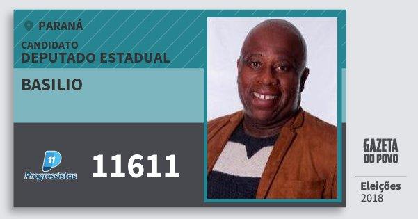 Santinho Basilio 11611 (PP) Deputado Estadual | Paraná | Eleições 2018