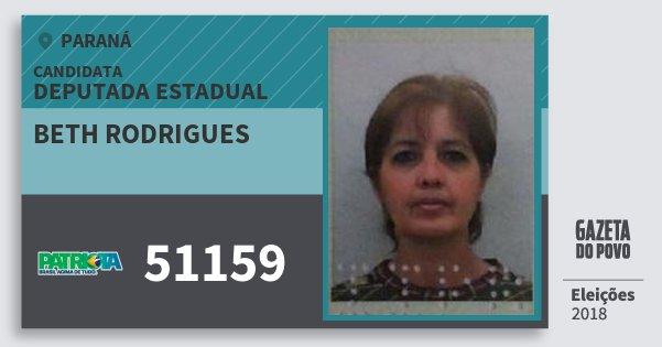 Santinho Beth Rodrigues 51159 (PATRI) Deputada Estadual | Paraná | Eleições 2018