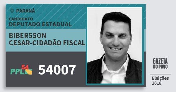 Santinho Bibersson Cesar-Cidadão Fiscal 54007 (PPL) Deputado Estadual | Paraná | Eleições 2018