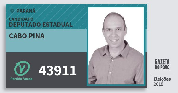 Santinho Cabo Pina 43911 (PV) Deputado Estadual | Paraná | Eleições 2018