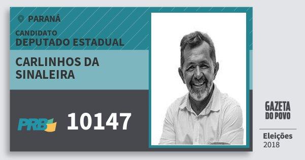 Santinho Carlinhos da Sinaleira 10147 (PRB) Deputado Estadual | Paraná | Eleições 2018